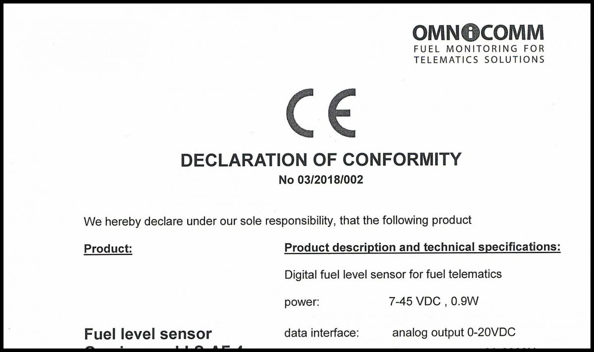 Declaration of CE Conformity for OMNICOMM LLS-AF 4 Fuel-Level Sensor