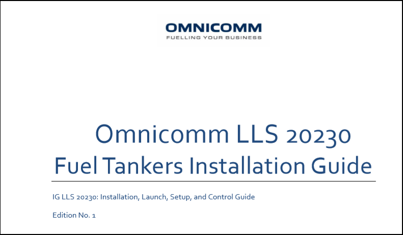 OMNICOMM LLS 20230 Fuel Tankers Installation Guide