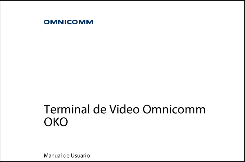 OMNICOMM OKO Terminal de Video Manual de Usuario