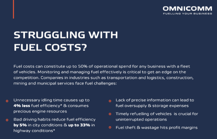 OMNICOMM Advanced Fuel Analytics for MyGeotab fleet management platform. To Customer