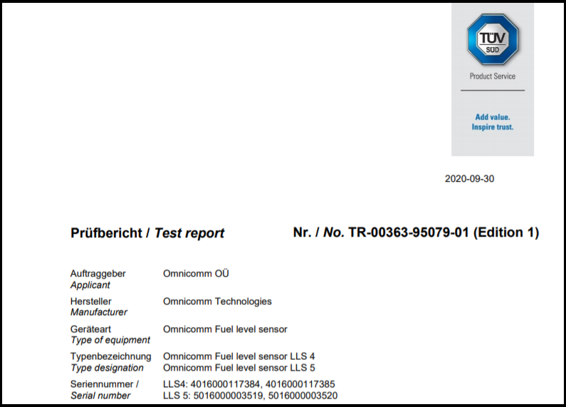 ISO 206532013-02 IP69K Protection Degree Certificate for OMNICOMM Fuel-Level Sensor