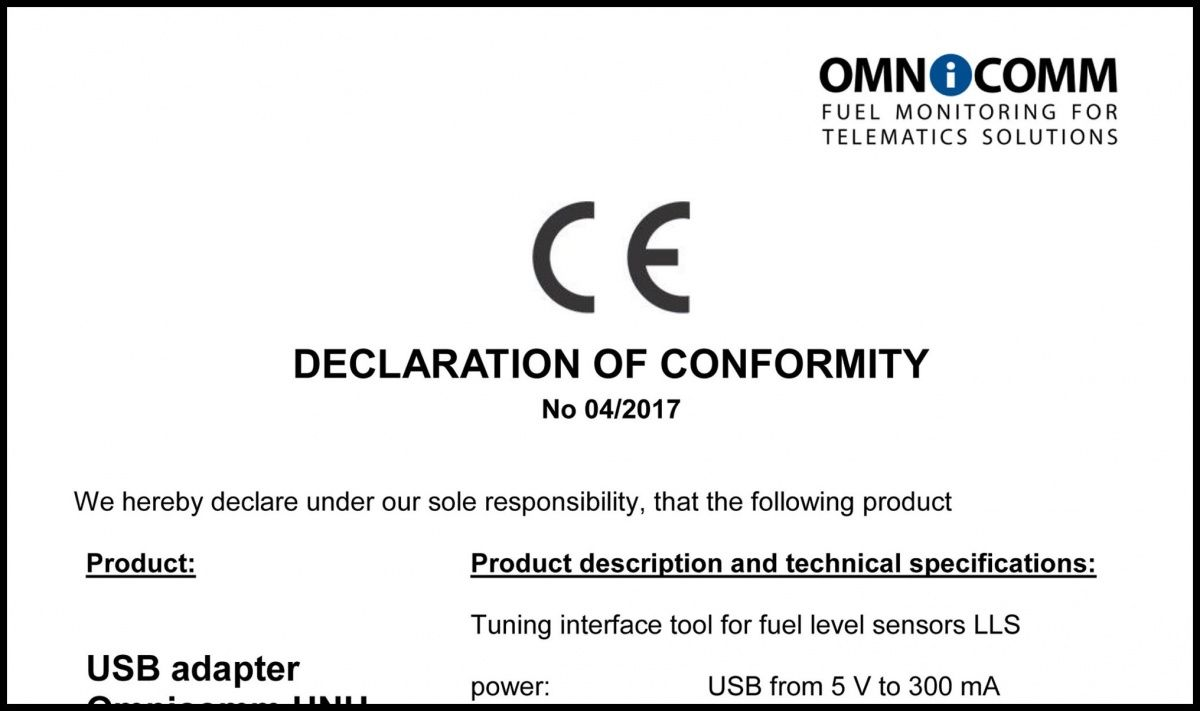 Declaration of CE Conformity OMNICOMM UNU-USB Connector Kit