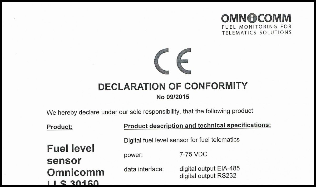 Declaration of CE Conformity OMNICOMM Fuel-Level Sensor LLS 30160