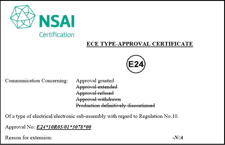 E-mark Certificate for OMNICOMM LLS-Ex 5 Fuel-Level Sensor and BIS-MX Power Protection Unit