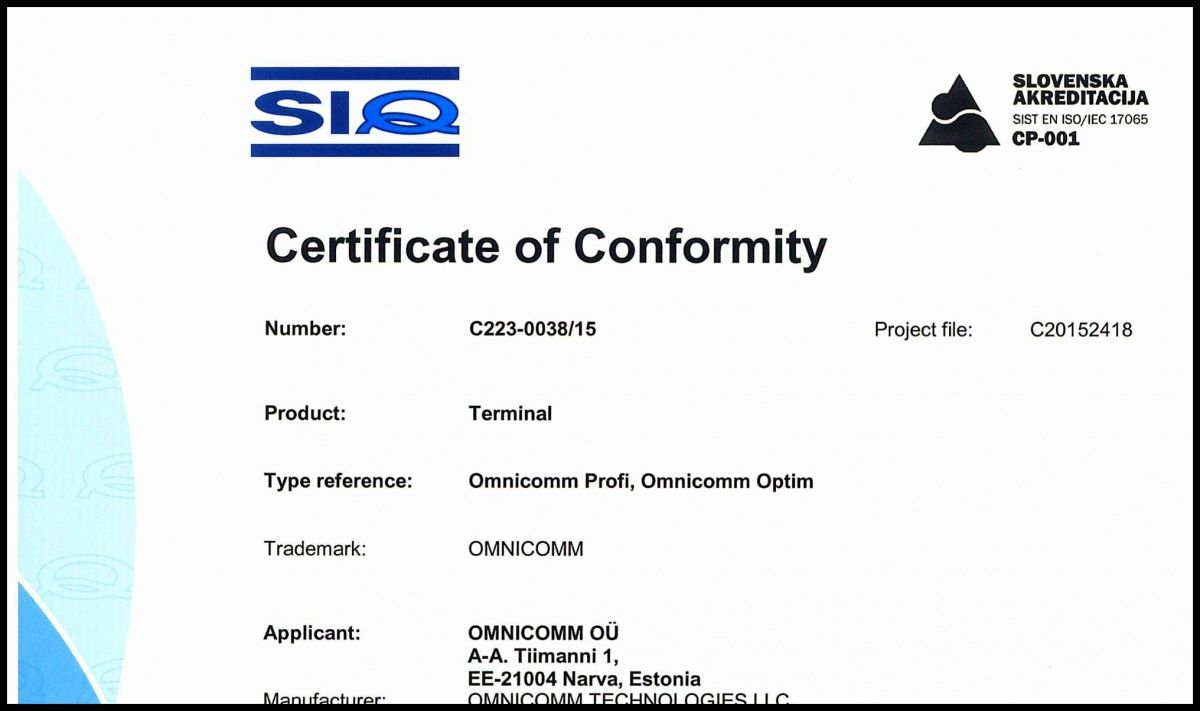 Declaration of CE Conformity OMNICOMM On-board Terminals Optim, Profi 2.0