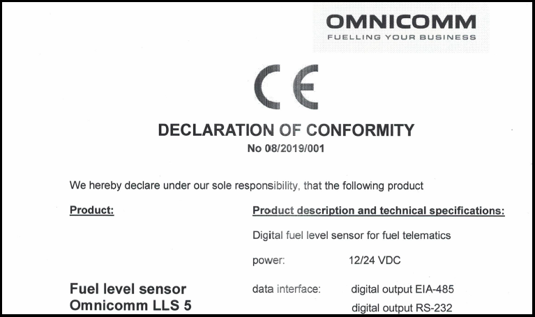 Declaration of CE Conformity for OMNICOMM LLS 5 Fuel-Level Sensor