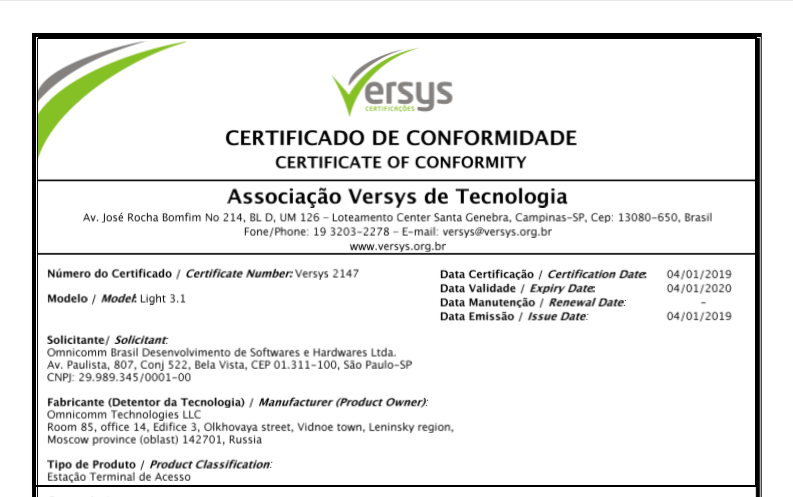 ANATEL Certificate of Conformity for OMNICOMM Light 3.1 On-board Terminal