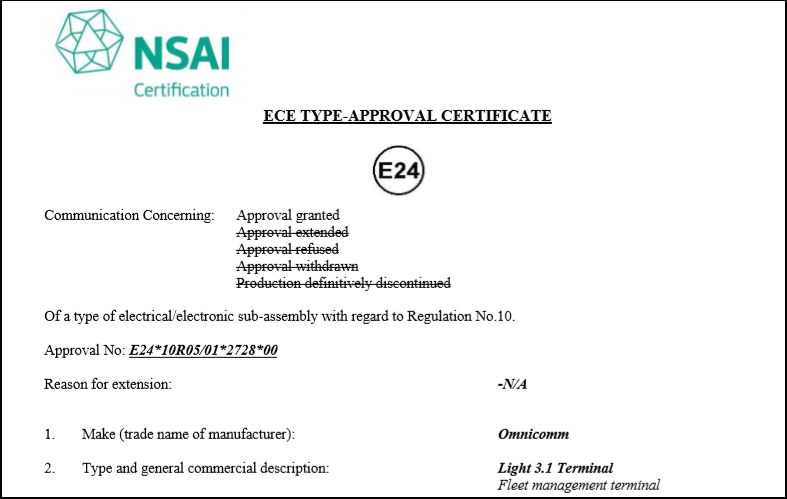 E-mark Certificate for OMNICOMM Light 3.1 On-board Terminal