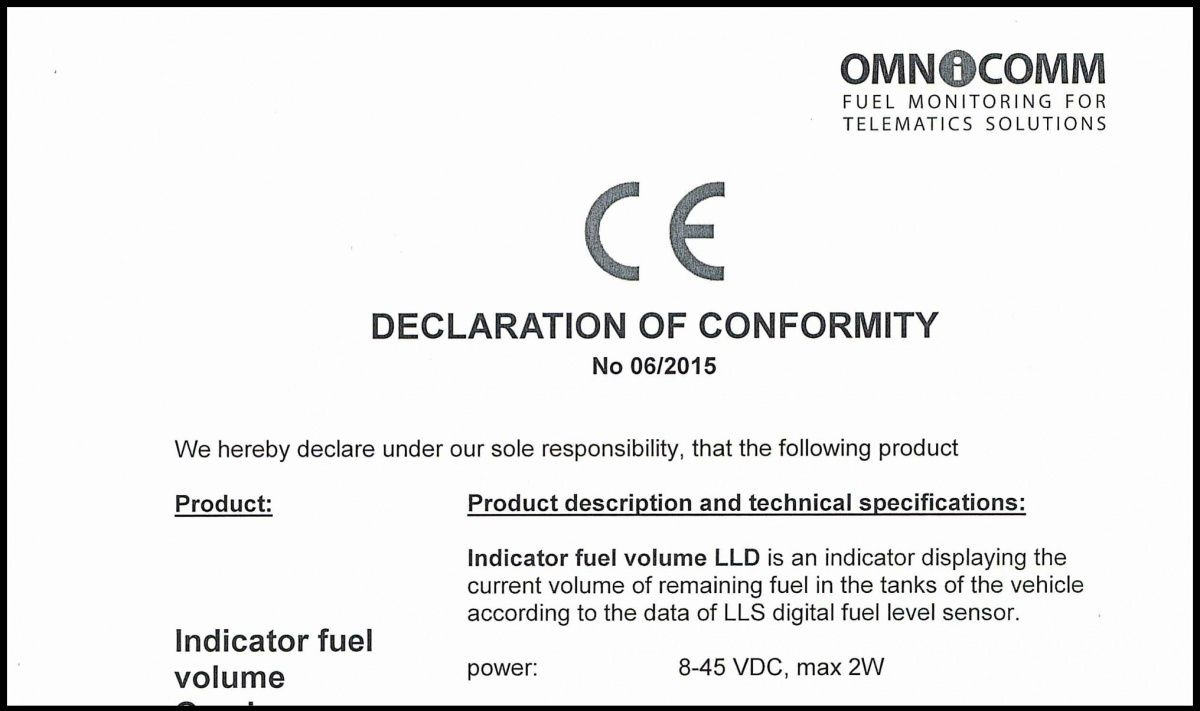 Declaration of CE Conformity for OMNICOMM LLD Indicator Display
