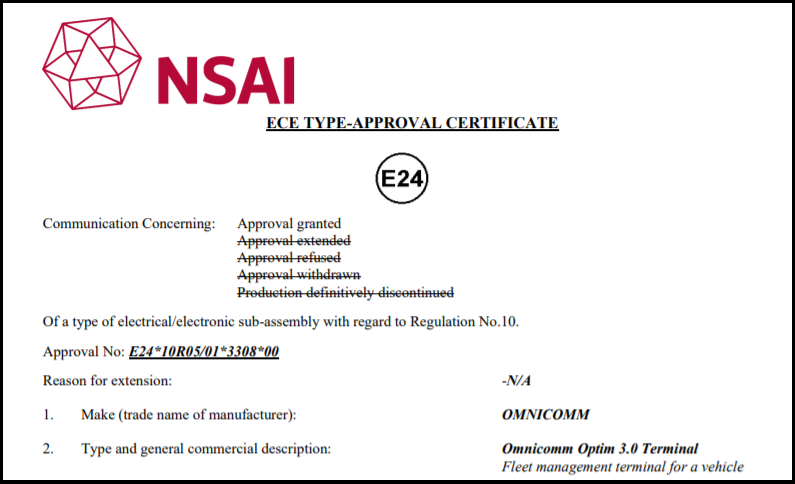 E-mark Certificate for OMNICOMM Optim 3.0 On-board Terminal
