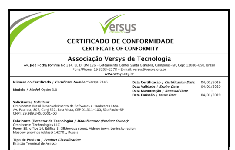 ANATEL Certificate of Conformity OMNICOMM On-board Terminal Optim 3.0