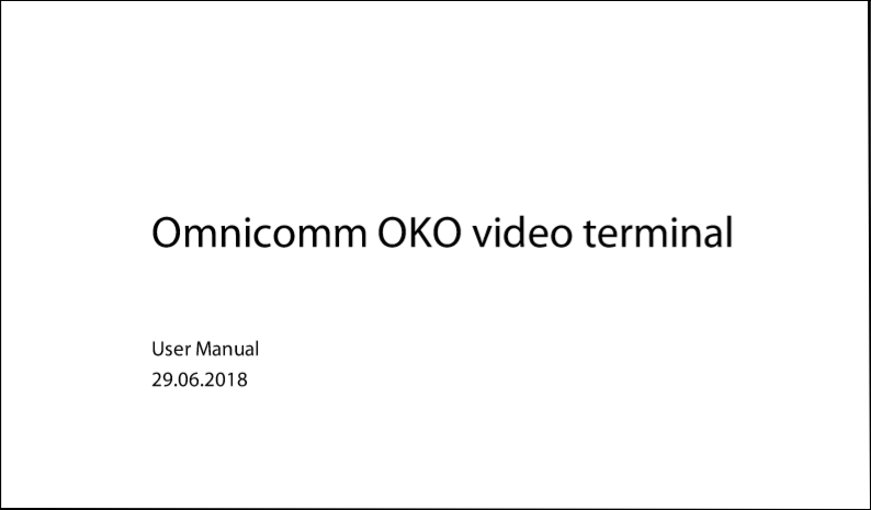 OMNICOMM OKO Video Terminal User Manual