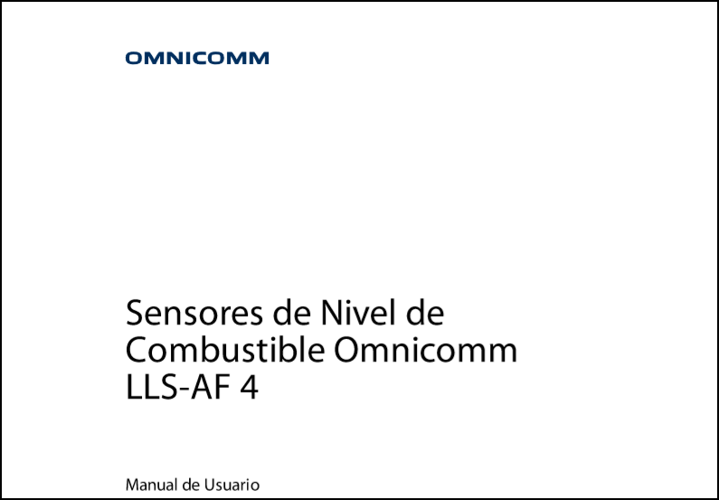 OMNICOMM Sensores de Nivel de Combustible LLS-AF 4 Manual de Usuario