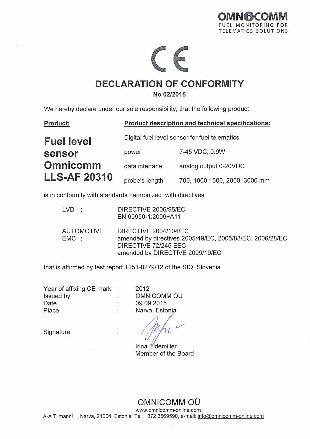 Declaration of CE Conformity OMNICOMM Fuel-Level Sensor LLS-AF 20310