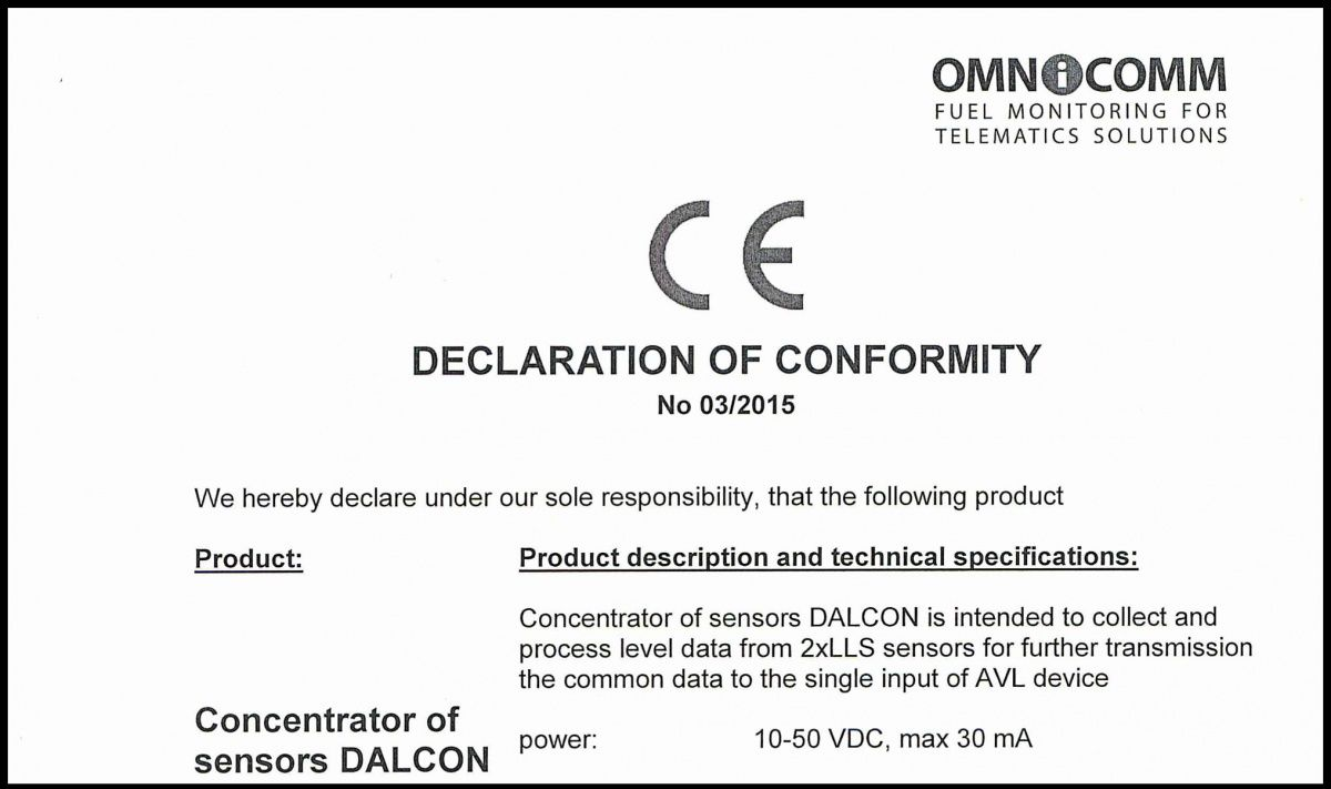 Declaration of CE Conformity OMNICOMM Dalcon