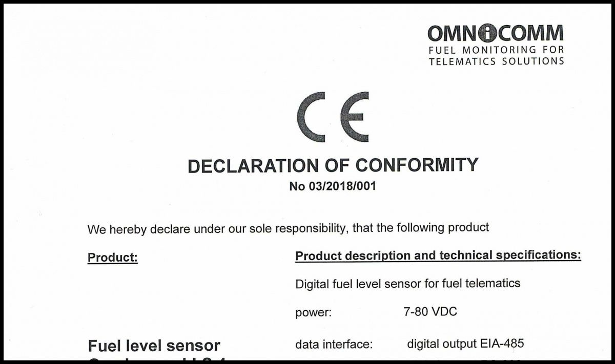 Declaration of CE Conformity for OMNICOMM LLS 4 Fuel-Level Sensor