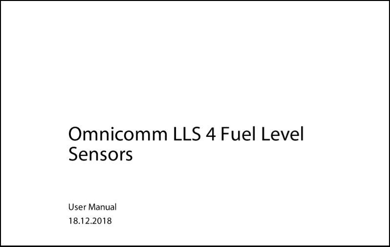OMNICOMM Fuel-level Sensor LLS 4 User Manual