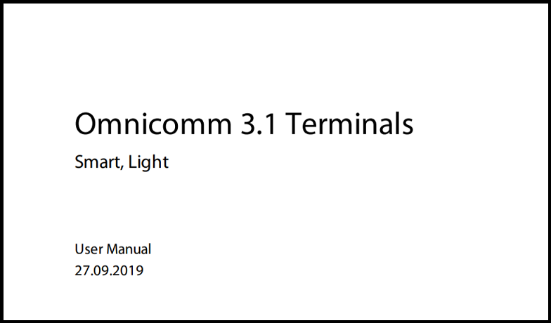 OMNICOMM Series 3.1 Terminals User Manual