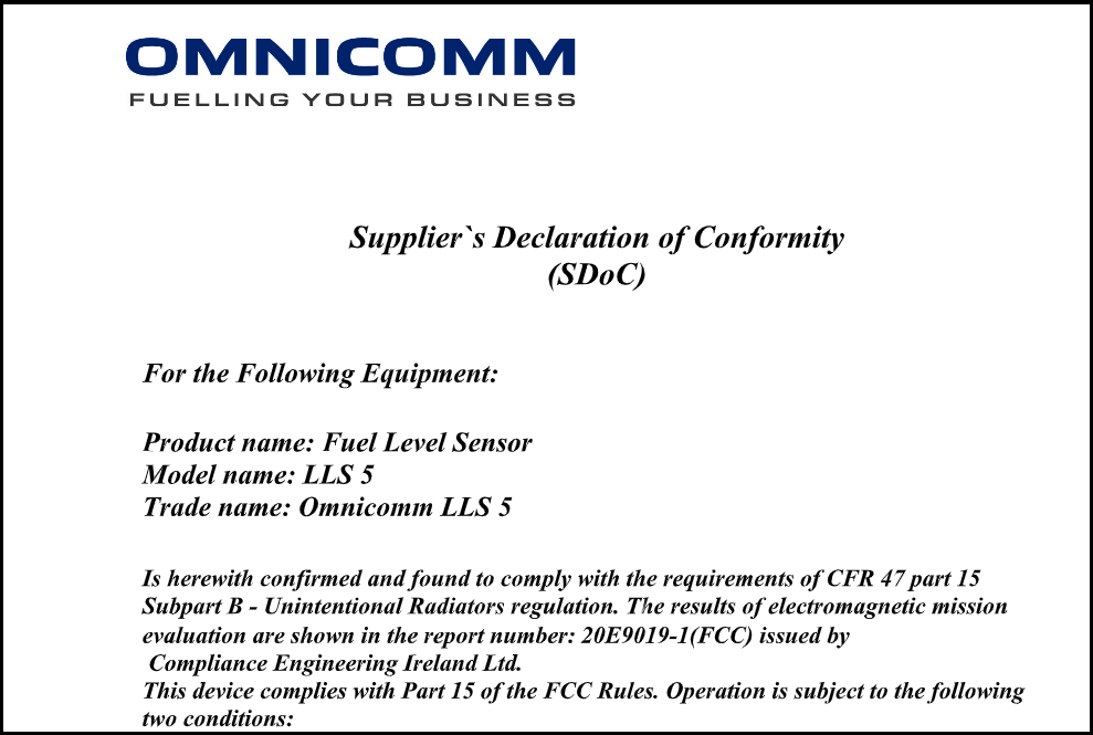 Supplier's Declaration of Conformity for OMNICOMM LLS 5 Fuel-Level Sensor