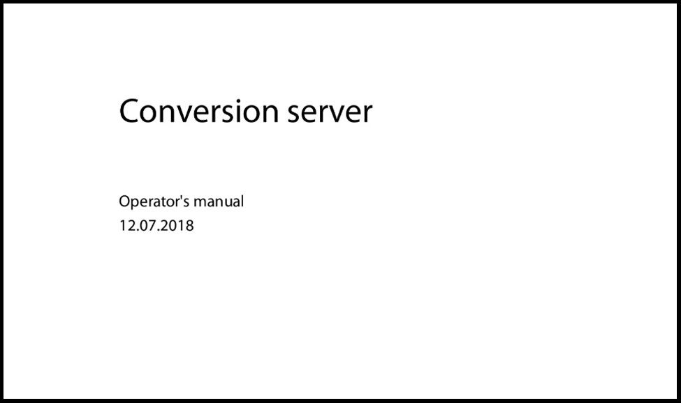 Conversion Server User Manual
