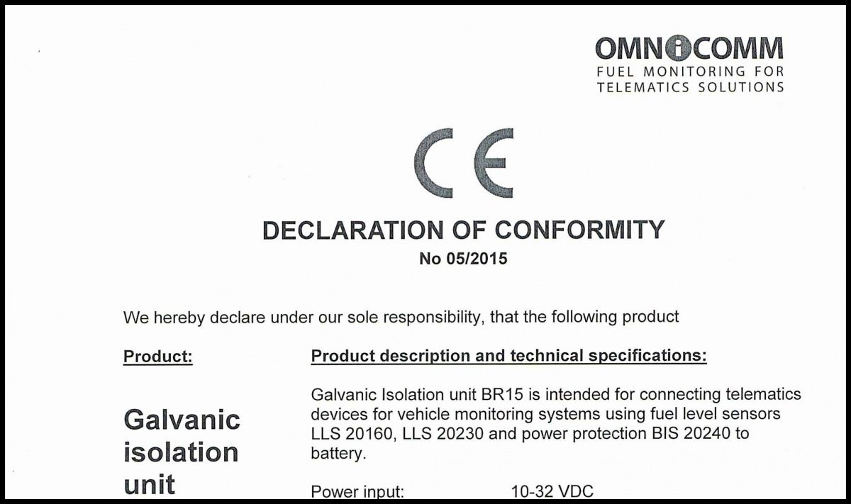 Declaration of CE Conformity OMNICOMM Galvanic Isolation Unit