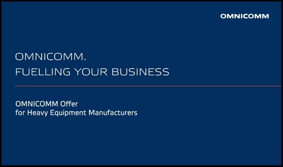 OMNICOMM Offer for Heavy Machine Manufacturers