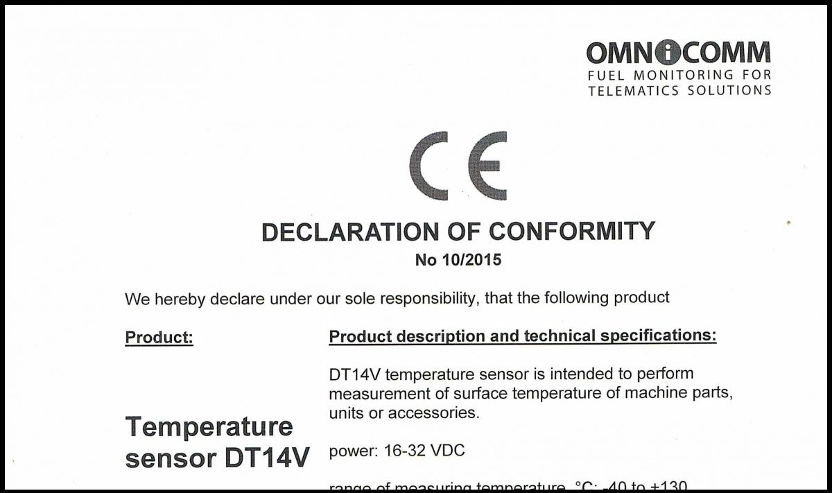 Declaration of CE conformity OMNICOMM Temperature Sensor DT14V