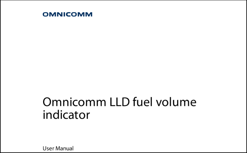 OMNICOMM LLD Fuel Volume Indicator User Manual
