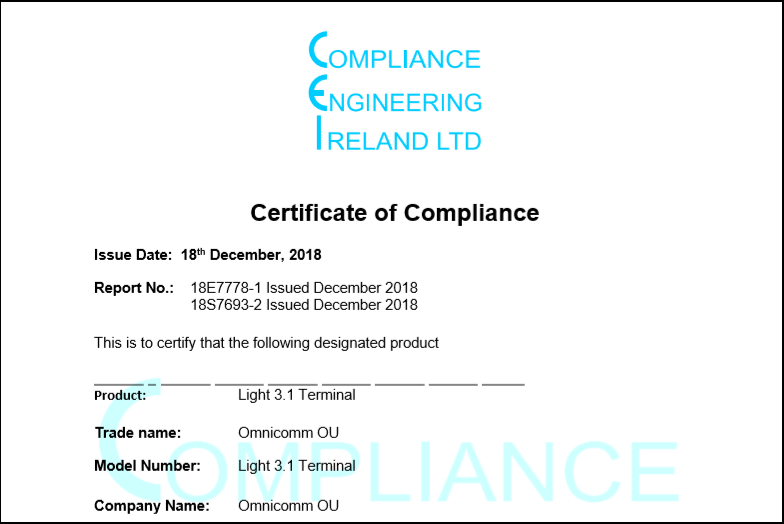 CE Certificate of Compliance for OMNICOMM Light 3.1 On-board Terminal