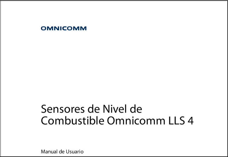 OMNICOMM Sensores de Nivel de Combustible LLS 4 Manual de Usuario