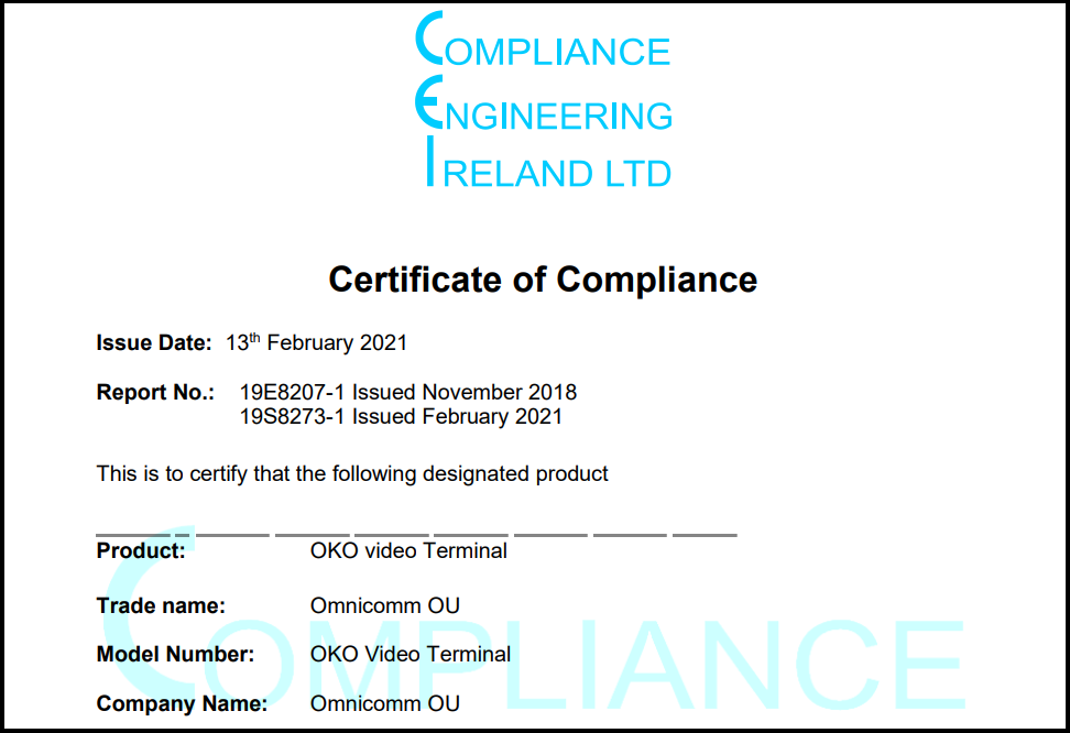 CE Certificate of Compliance for OMNICOMM OKO Video Terminal
