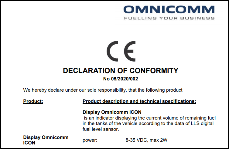 Declaration of CE Conformity for OMNICOMM ICON Display