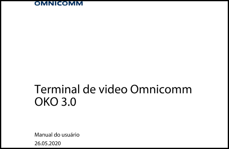 OMNICOMM OKO 3.0 Terminal de video Manual do usuário