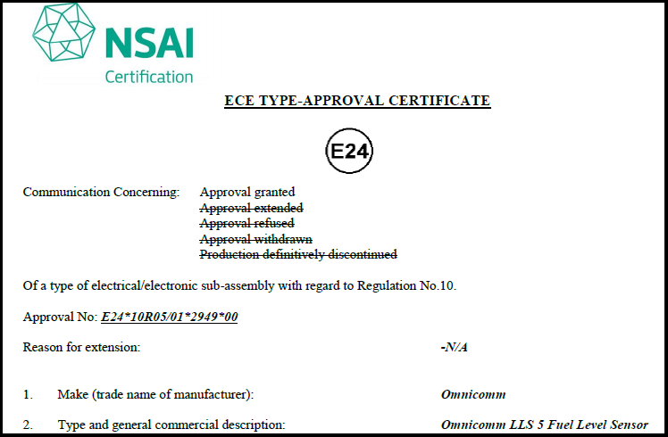 E-mark Certificate for OMNICOMM LLS 5 Fuel-Level Sensor