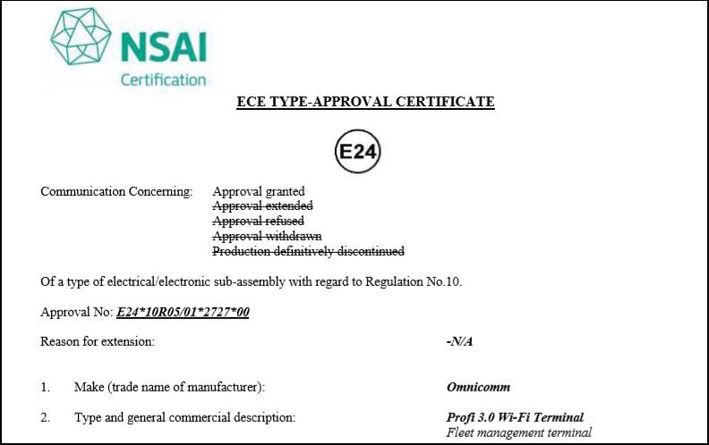 E-mark Certificate for OMNICOMM Profi 3.0, Profi 3.0 Wi-Fi On-board Terminals