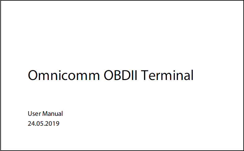 OMNICOMM OBD II Terminal User Manual