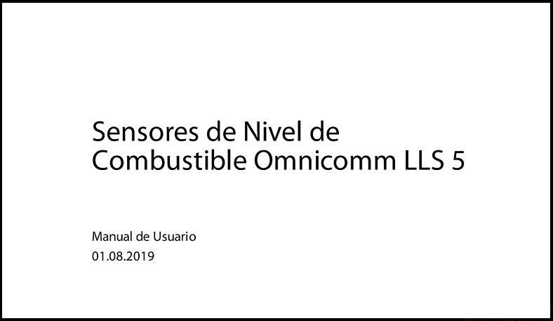 OMNICOMM Sensores de Nivel de Combustible LLS 5 Manual de Usuario