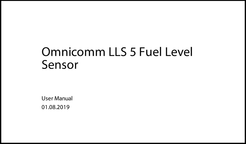 OMNICOMM LLS 5 Fuel Level Sensor User Manual